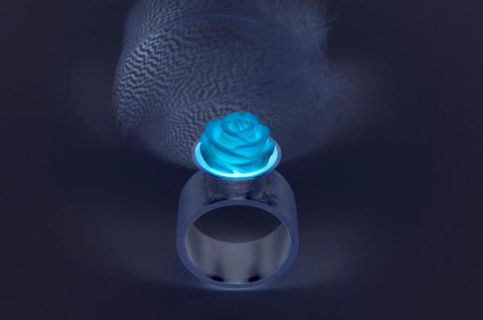 """rose-feather-blue"" (Preis auf Anfrage)"